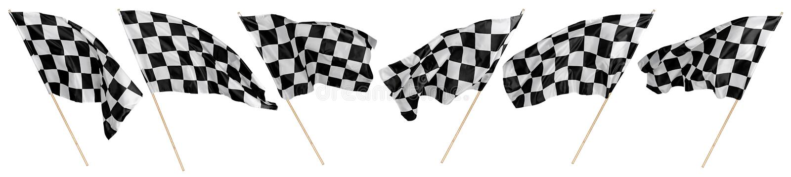 Set collection of waving black white chequered flag wooden stick motorsport sport and racing concept isolated background. Set collection of waving black white royalty free stock image