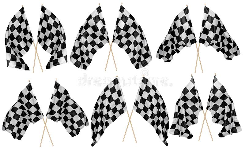 Set collection of waving crossed cross black white chequered flag wooden stick motorsport sport and racing concept isolated royalty free stock image
