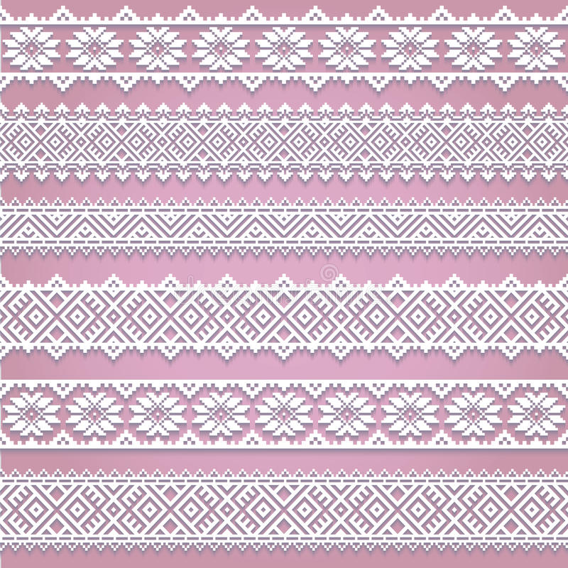 Set collection of white lace horizontal borders with shadow, ornamental paper lines royalty free illustration