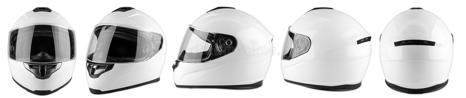 Set collection of white motorcycle carbon integral crash helmet isolated white background. motorsport car kart racing. Set collection of white motorcycle carbon royalty free stock photos