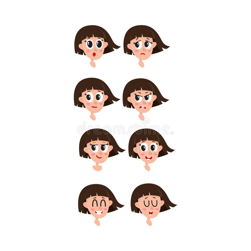 Set, collection of woman, girl face expressions, heads, avatars stock illustration