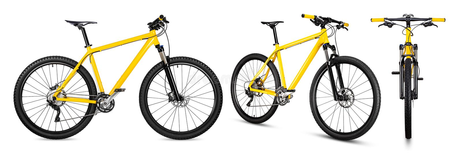 Set collection of yellow black 29er mountainbike with thick offroad tyres. bicycle mtb cross country aluminum, cycling sport royalty free stock image