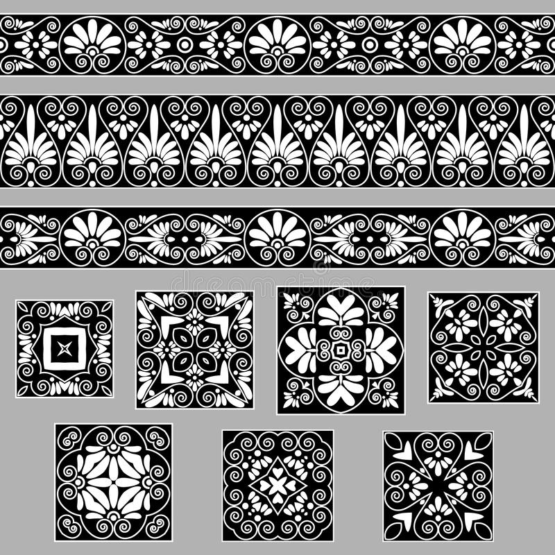 Set collections of old Greek ornaments. Antique borders and tiles in black and white colors stock illustration