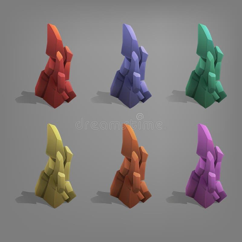 Set of coloful stones. stock illustration