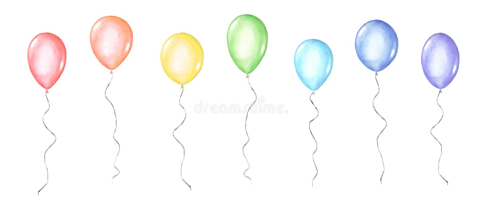 Set of coloful watercolor balloons isolated on white background. Set of colorful rainbow colors watercolor happy holiday glossy helium air flying balloons stock illustration