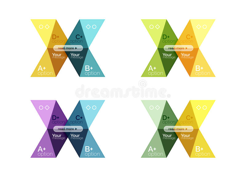 Set of color abstract arrow option infographic templates. Vector backgrounds for workflow layout, diagram, number options or web design vector illustration