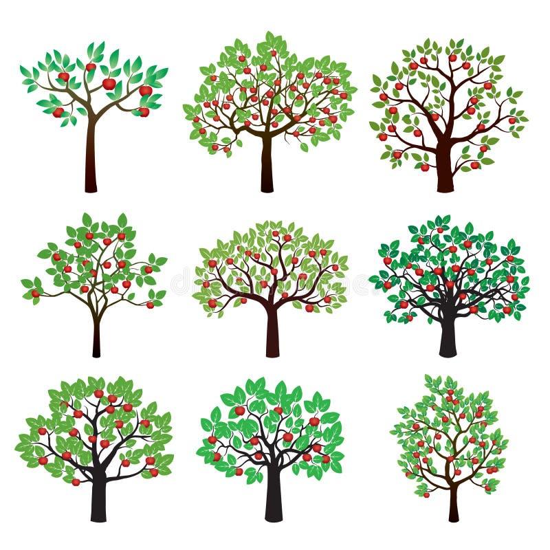 Set of Color Apple Trees. Vector Illustration vector illustration