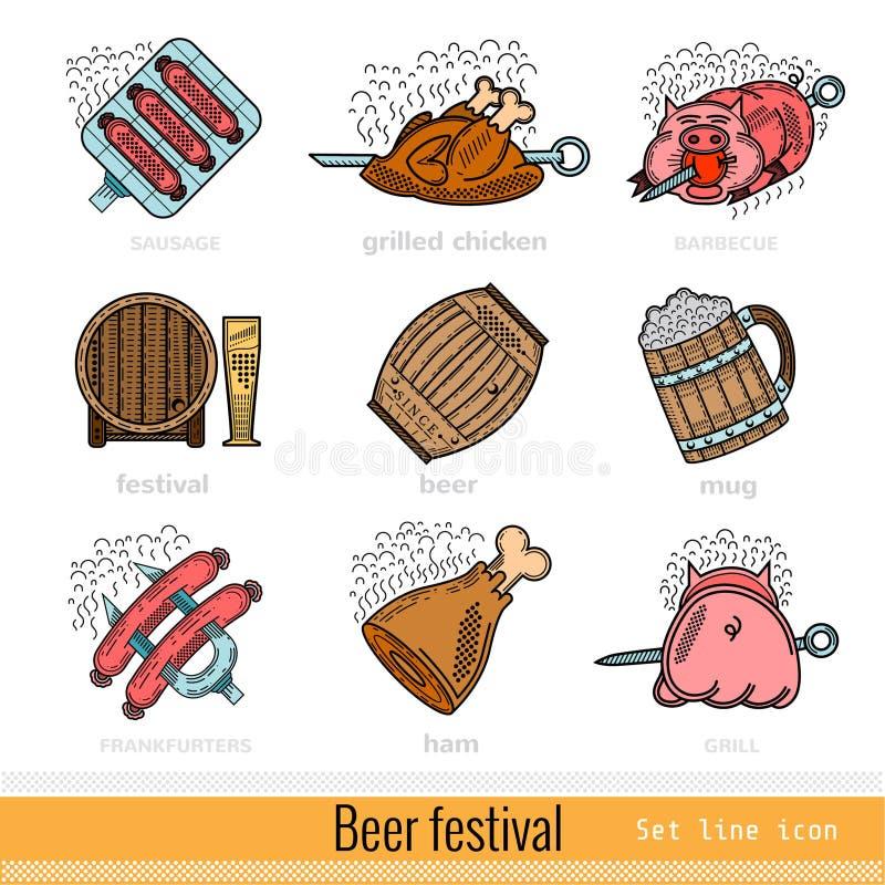 Set of Color Beer Festival Outline Web Icon vector illustration