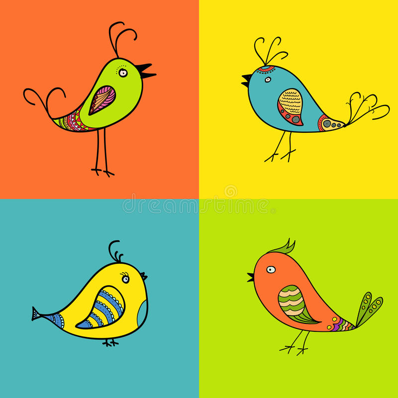 Set of color birds for design royalty free stock image