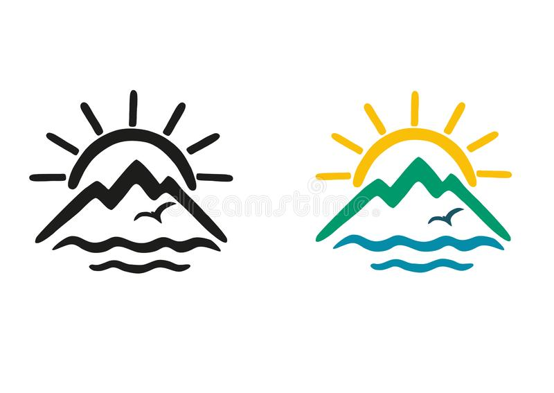 Set of color and black and white vector icons.The theme of travel  in the form of stylized sun, mountains, sea,bird. stock illustration