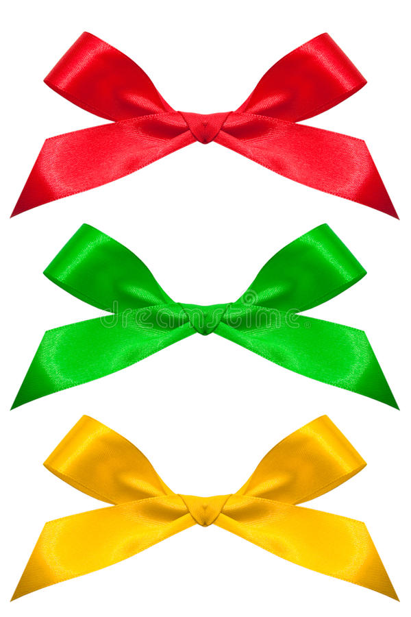 Set of color bows isolated on a white stock images