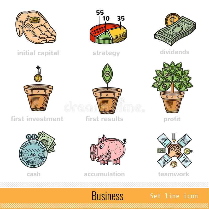Set of Color Business Outline Web Icons vector illustration