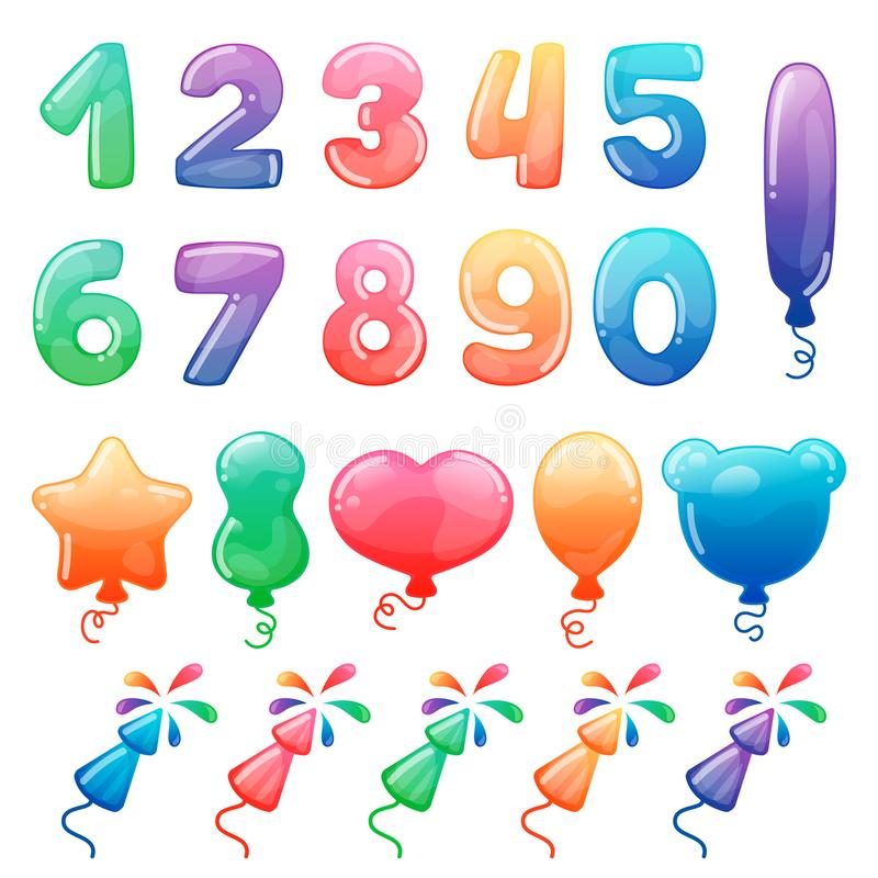 Set of color cartoon numbers, balloons and fireworks. Rainbow candy and glossy funny cartoon symbols. Collection of stock illustration