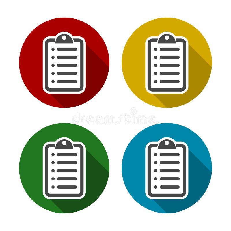 Set of color checklist. Vector icon royalty free illustration