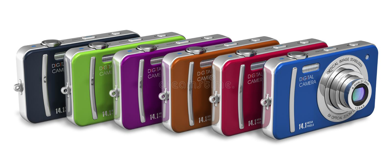 Download Set Of Color Compact Digital Cameras Stock Illustration - Illustration of camera, group: 24388496