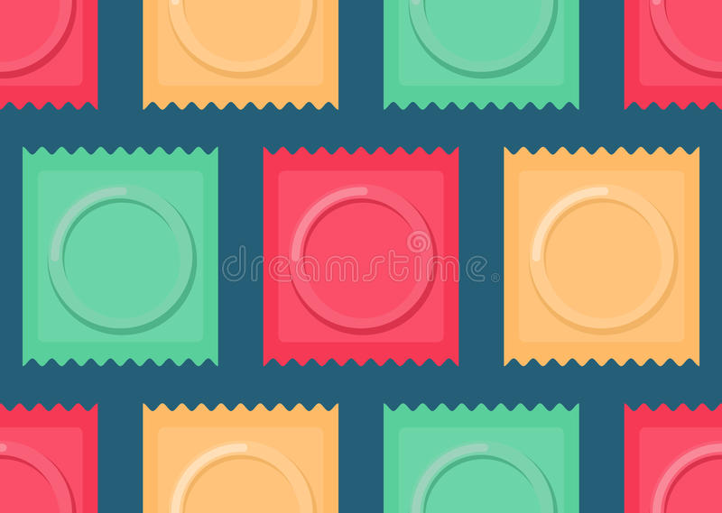 Set color Condom packed seamless pattern. Contraceptive background. Sex protection texture.  stock illustration