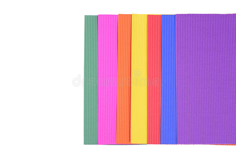 Set of a color crepe paper close up. Set color crepe paper isolated on white stock image