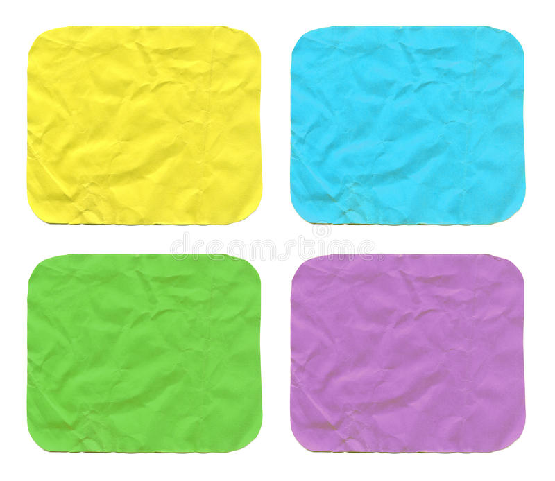 Set of color crumpled small square paper sheets with rounded cor stock images