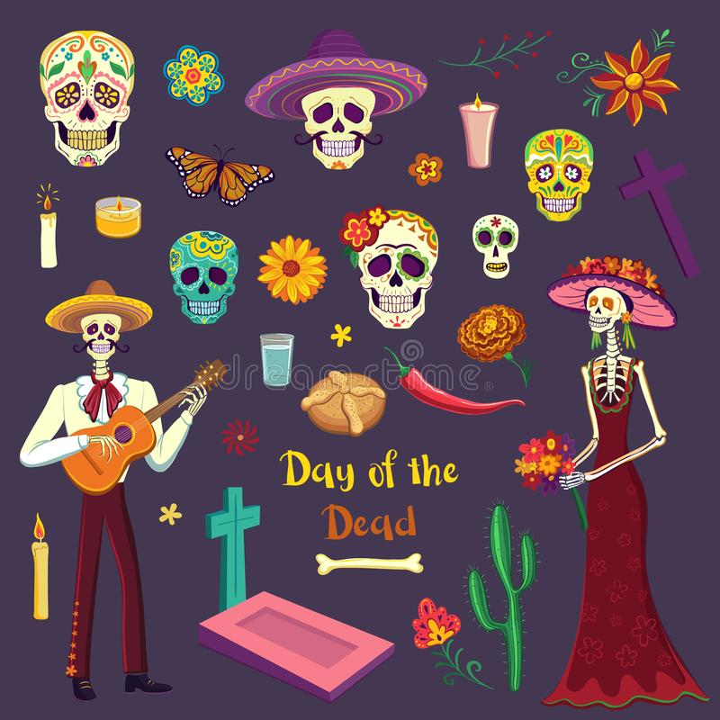 Set of color drawings Day of the Dead. Mexican symbols. Set of color drawings in Cartoon style Day of the Dead. Mexican symbols, sugar skulls, mariachi, Katrina vector illustration