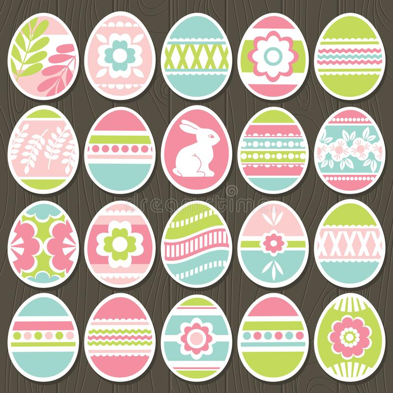 Set of color easter eggs over brown wooden background. Holiday Easter Eggs decorated with flowers, rabbit, leafs. Easter holidays royalty free illustration