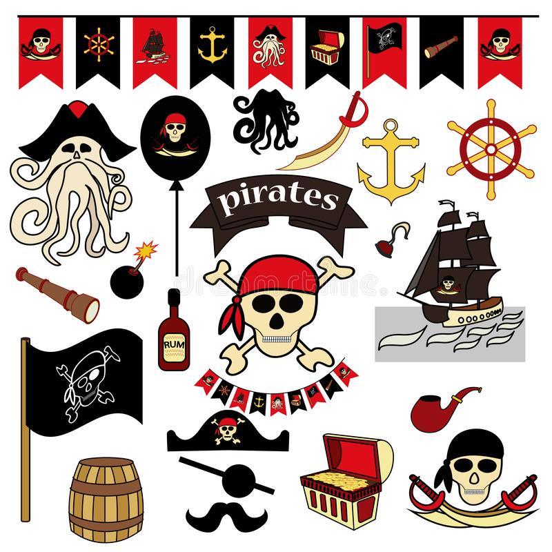 Set of 23 color elements on the pirate theme. Pirate symbols-swords, treasure chest, skull and bones, Davy Jones royalty free illustration