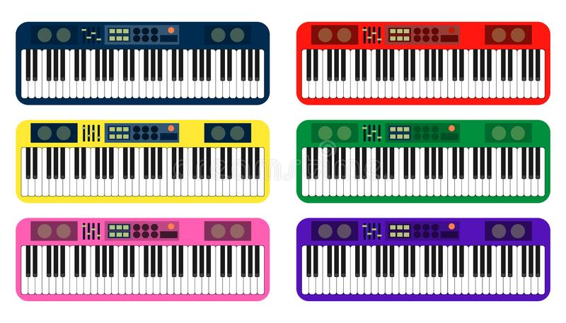 Set of color flat style vector piano roll analog synthesizer faders buttons knobs display on white background. EPS royalty free illustration