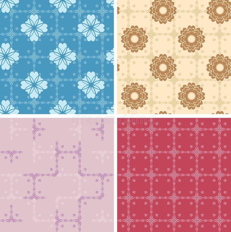 Set - color geometric patterns seamless - eps