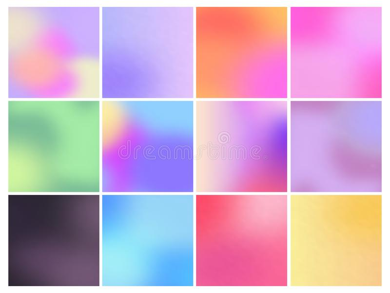 Set of color gradient backgrounds. Color square gradient backgrounds. Soft multicolored gradients. Vector set royalty free illustration