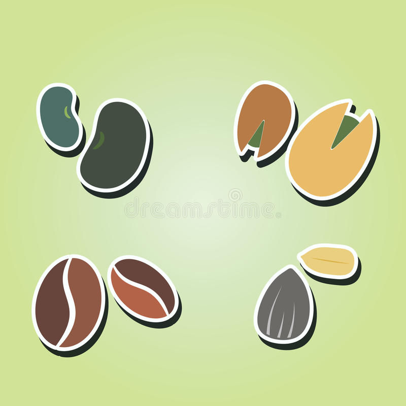 Set of color icons with beans and nuts stock illustration