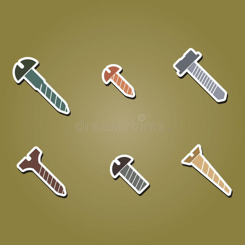 Set of color icons with screws stock illustration