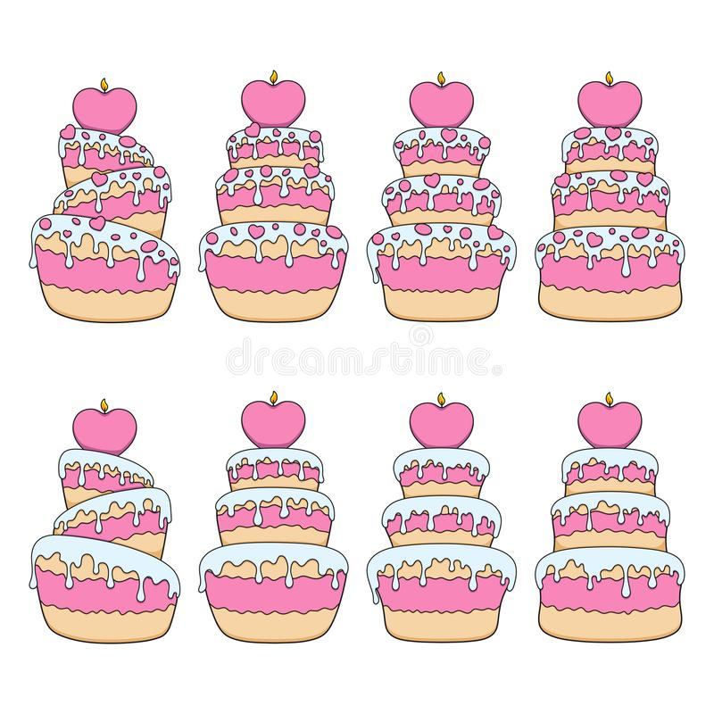 Set of color illustrations with pink and white cakes with hearts. Isolated vector objects. Set of color illustrations with pink and white cakes with hearts royalty free illustration