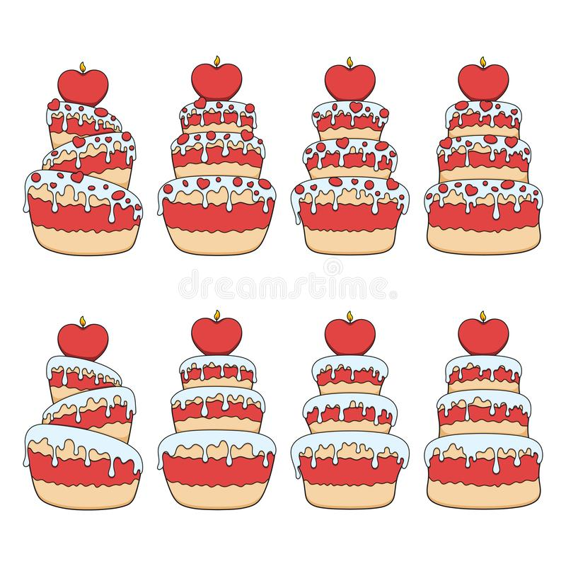 Set of color illustrations with red and white cakes with hearts. Isolated vector objects. Set of color illustrations with red and white cakes with hearts stock illustration
