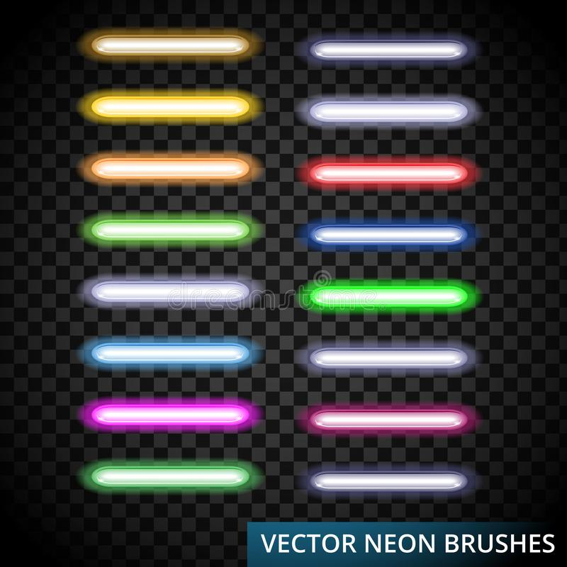 Set of color laser brushes you can creat neon line for your desing, include brushes in artwork. Background,Vector illustration, eps 10 royalty free illustration