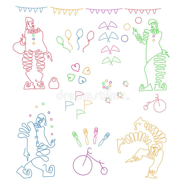 Set of color linear illustrations of four clowns and circus attributes. stock illustration