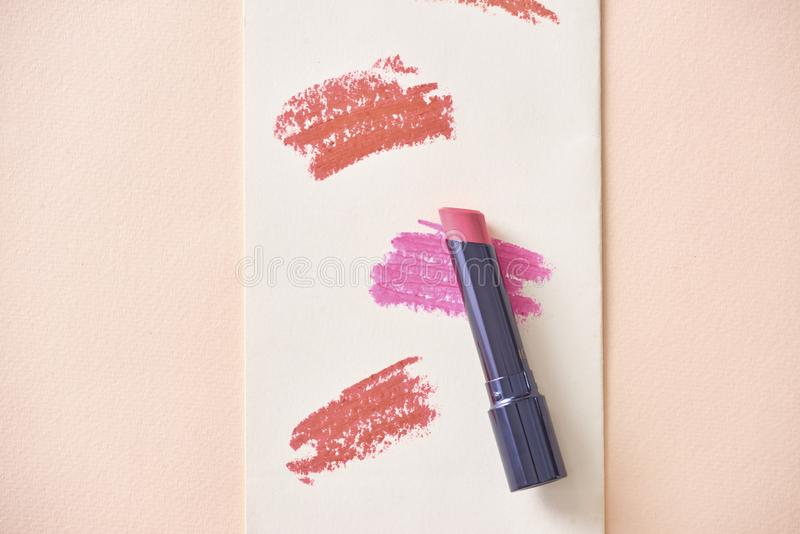Set of color lipsticks. Lipstick colors. Beauty and cosmetics ba. Ckground.Fashion lipstick royalty free stock images