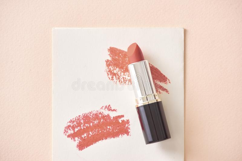 Set of color lipsticks. Lipstick colors. Beauty and cosmetics background.Fashion lipstick royalty free stock image