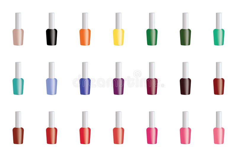 Set of color nail polish. Set of color nail polish isolated on white background. Vector EPS10