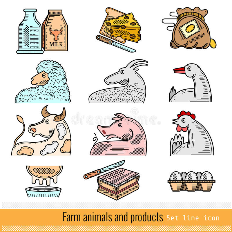 Set of Color Outline Web Icon. Domestic animals and products royalty free illustration