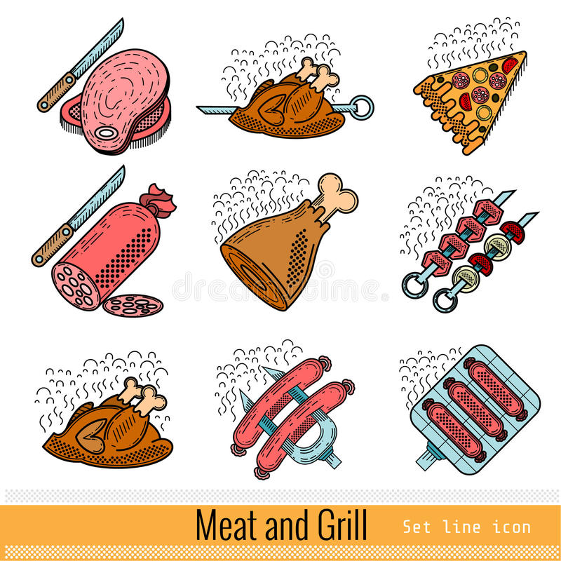 Set of Color Outline Web Icon. Meat Grill BBQ stock illustration
