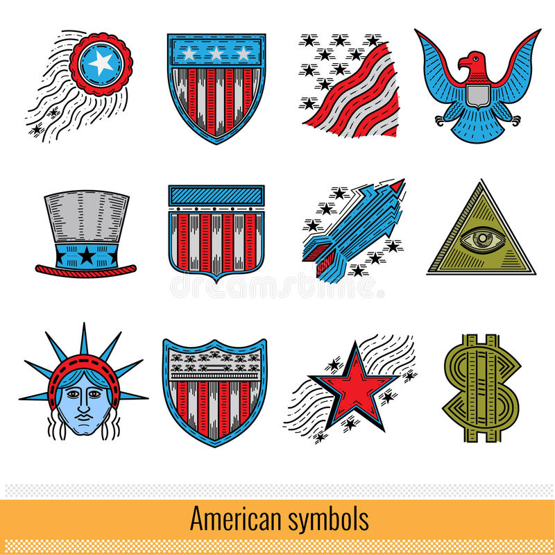 Set Of Color Outline Web Icon Symbols Of America Usa Stock Vector