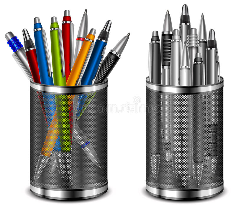 Set of color pens in support vector illustration