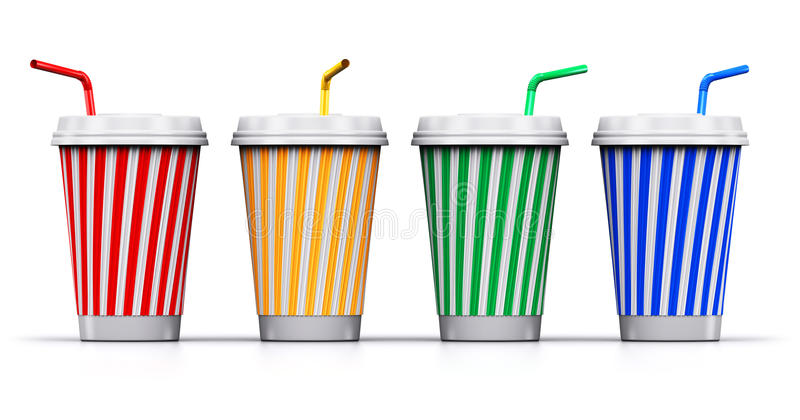 Set of color plastic or paper drink cups with straws. Creative abstract 3D render illustration of the set of color striped plastic or cardboard paper coffee, tea vector illustration