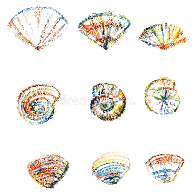 Set of color seashells on white background. Vector hand drawn paint, underwater artistic marine element design for greeting cards, print design, cover page vector illustration