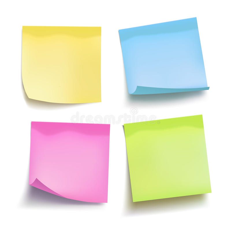 Set of color sheets of note papers. Four sticky notes. Vector stock illustration