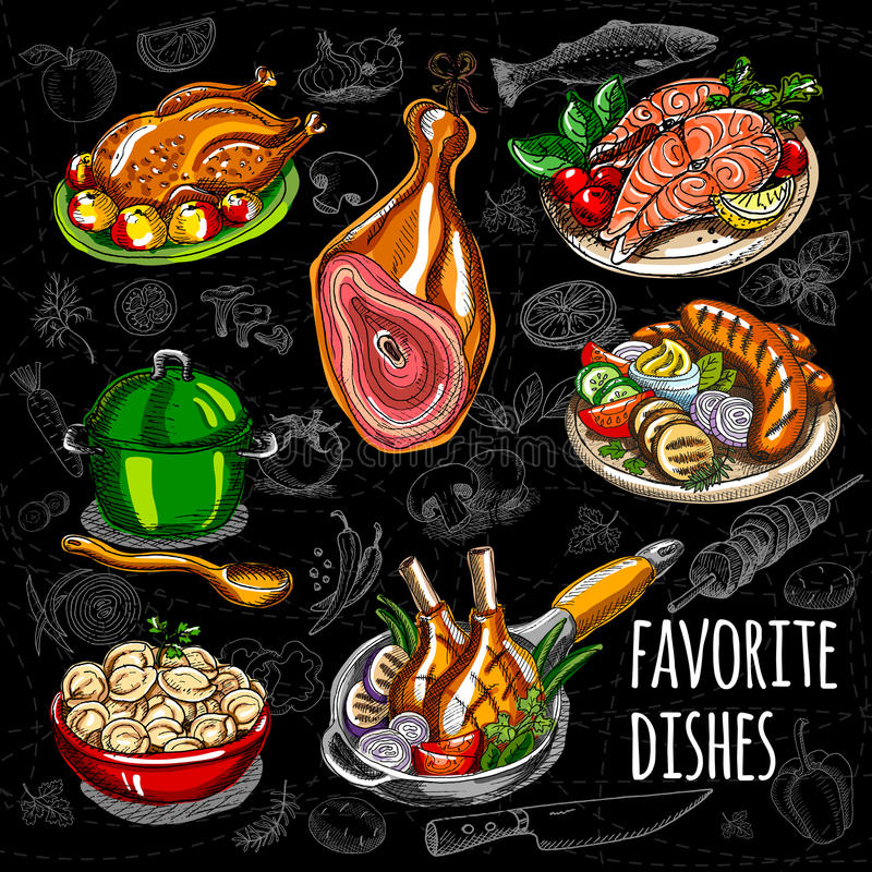 Set color sketch meat, fish, side dishes. Favorite dishes, soup, chicken, tomatoes, mushrooms, onion, salmon, meat, sausage grill ham potato meat dumplings vector illustration