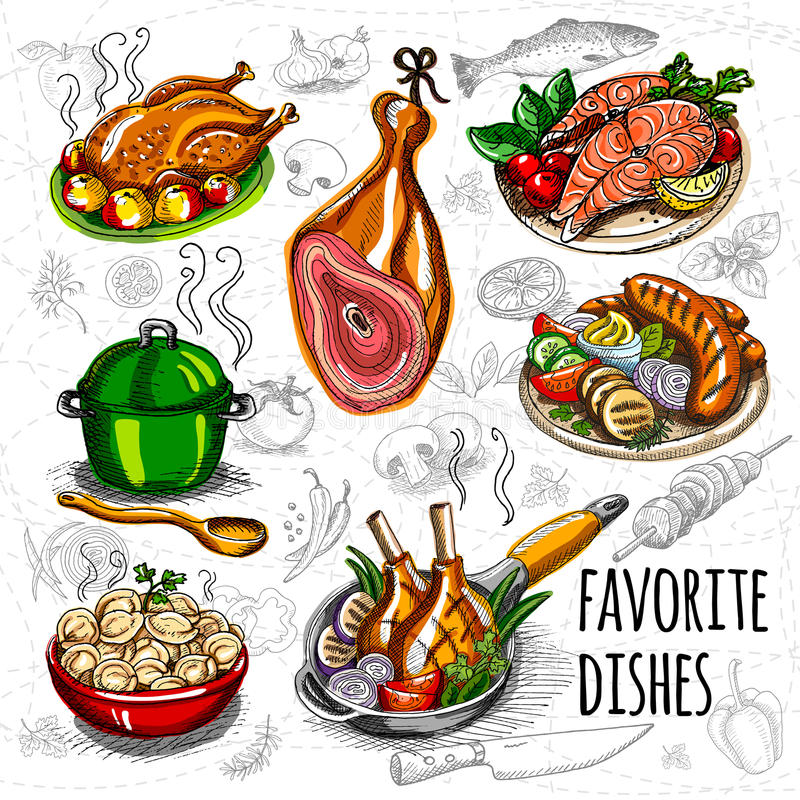 Set color sketch meat, fish, side dishes. Set color sketch meat, fish, side dishes Favorite dishes, soup, chicken, vegetables, tomatoes, mushrooms onion salmon vector illustration
