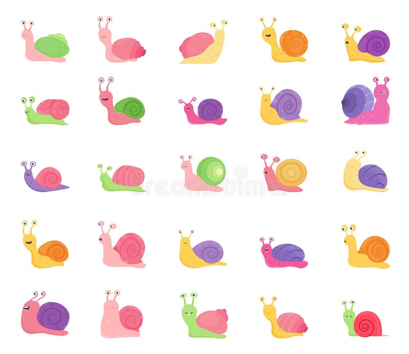 Set of Color Snail Icons isolated on white background stock illustration