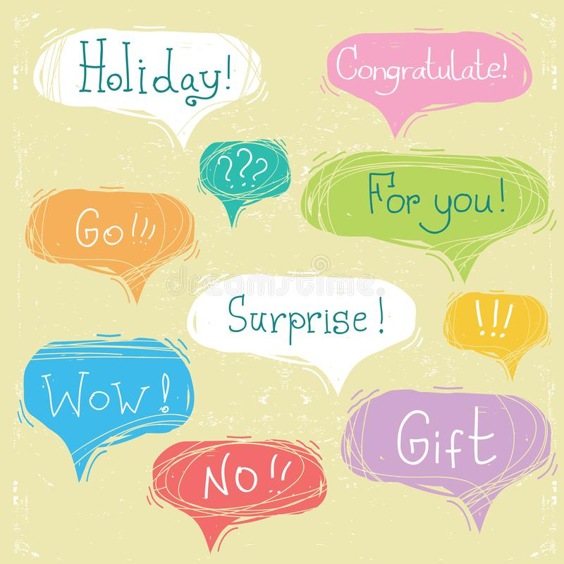 Set of speech bubbles with text on scratched paper vector illustration