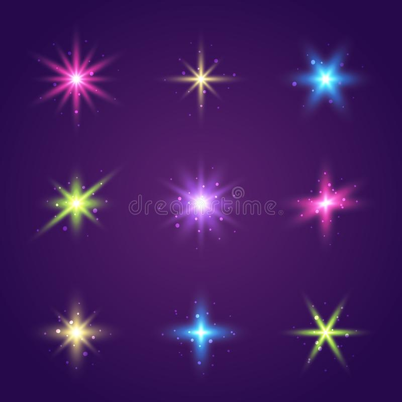 Set of starry elements with transparent effects. Set of color starry elements with transparent effects vector illustration