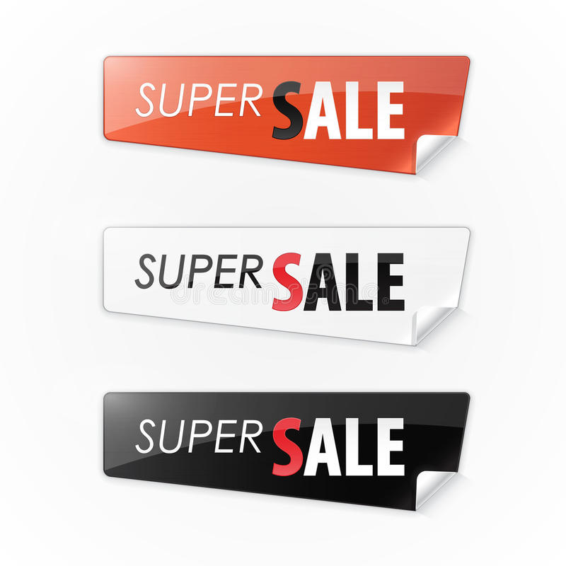 Set of color stickers with the text super sale. Vector illustration royalty free illustration